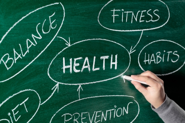 health lifestyle concept on blackboard